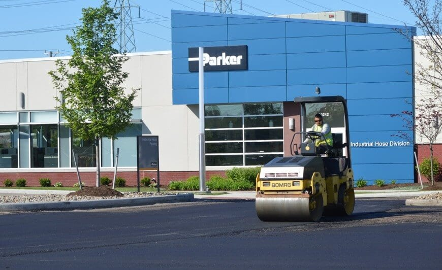 Compacting asphalt for Parker Hannifin