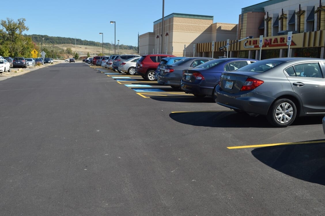 Asphalt parking lot for Cinemark with line striping and sealcoating