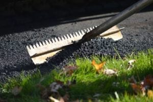 Asphalt raking for a repaving project