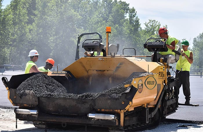 Ohio Paving & Construction's crew laying new asphalt.