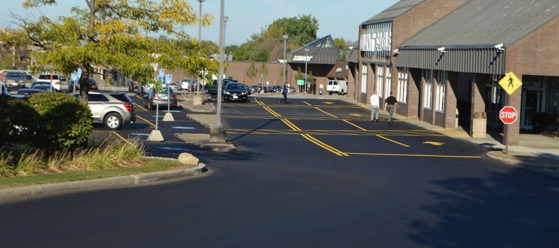 A finished asphalt paving job Ohio Paving & Construction completed for Giant Eagle in Beachwood, OH.