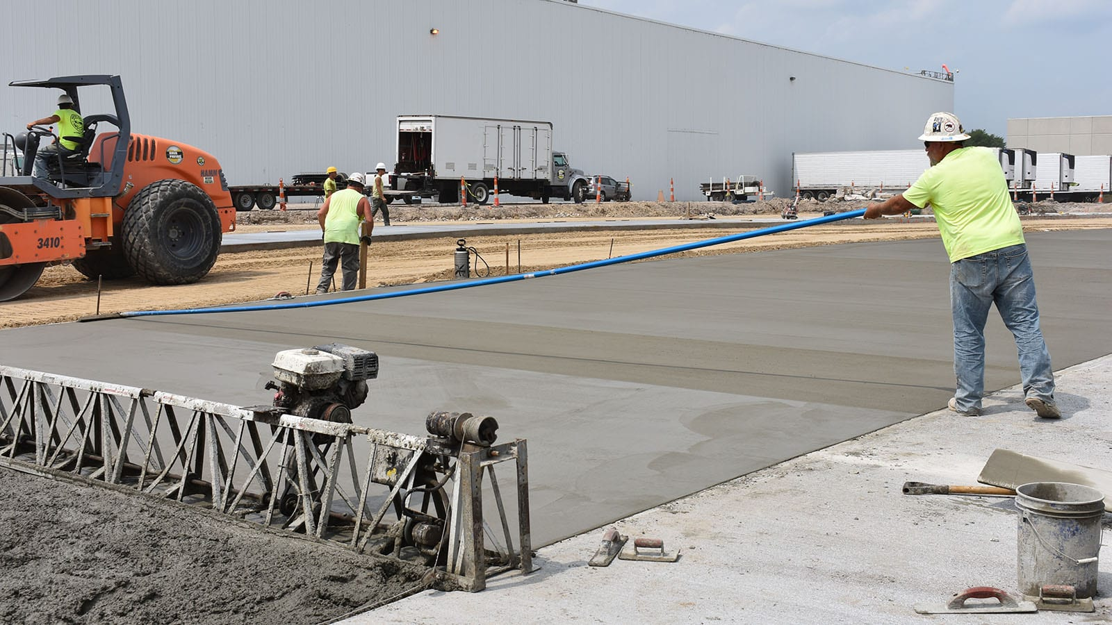 Our paving crew working on Nestle's expanded parking lot in Streetsboro, OH